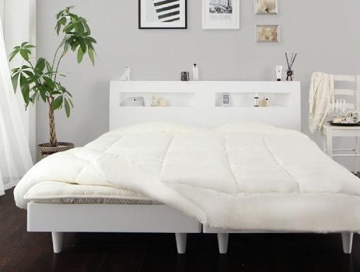白いベッド『棚・コンセント付きデザインすのこベッド 【Windermere】ウィンダミア』