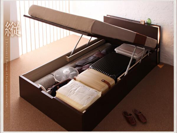 収納ベッドシングル通販 深さを選べるガス圧跳ね上げ式収納ベッド