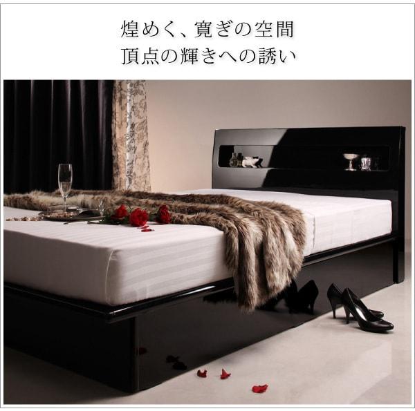収納ベッドシングル通販 ウレタン塗装収納ベッド『ガス圧式跳ね上げ 鏡面仕上げ収納ベッド 【Zenit】ツェニート』