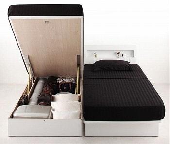 収納ベッドシングル通販 シングルベッドより小さい収納ベッド『ガス圧式跳ね上げ 鏡面仕上げ収納ベッド 【Zenit】ツェニート』