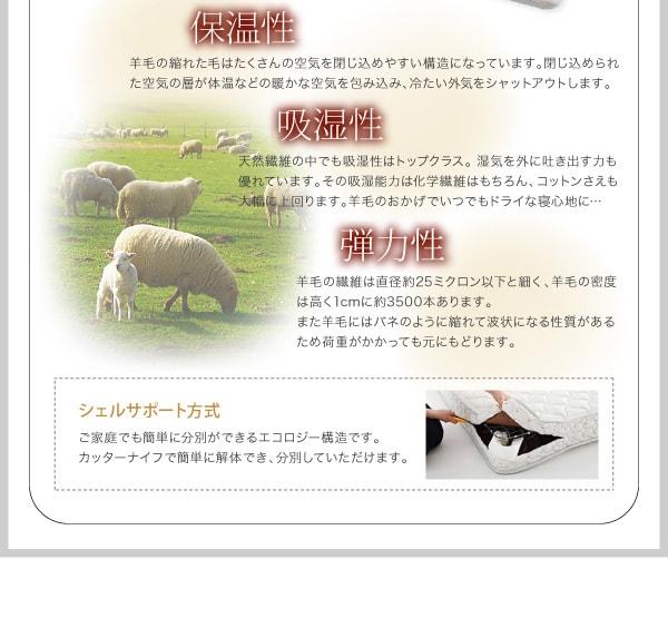 収納ベッドシングル通販 羊毛デュラテクノマットレス