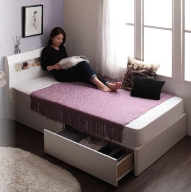 収納ベッドシングル通販 小さいベッド『棚・コンセント付きショート丈収納ベッド【collier】コリエ』