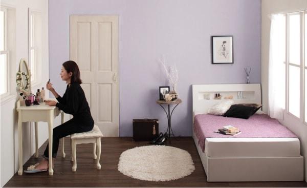 ショート丈シングルサイズのベッド『棚・コンセント付きショート丈収納ベッド【collier】コリエ』