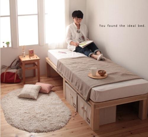 細いセミシングルサイズのあるベッド『総桐ヘッドレスすのこベッド【fiume】フィウーメ』