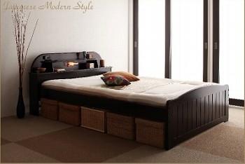 収納ベッドシングル通販 布団を敷ける収納ベッド『高さが調節できる!照明&宮棚&コンセント付き天然木すのこベッド【freel】フリール』