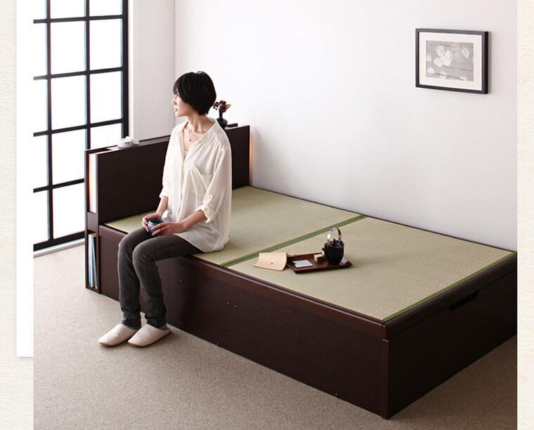 布団が敷けるベッド『照明・棚付きガス圧式跳ね上げ畳収納ベッド【月花】ツキハナ』