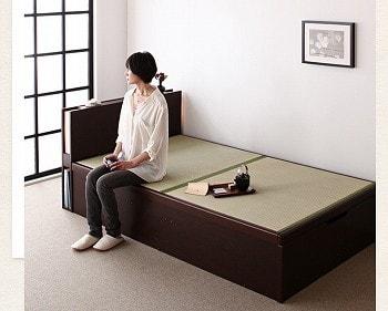 収納ベッドシングル通販 畳収納ベッド『照明・棚付きガス圧式跳ね上げ畳収納ベッド【月花】ツキハナ』
