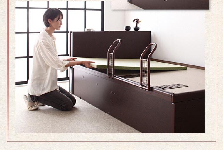 収納ベッドシングル通販 落下防止機能付収納ベッド
