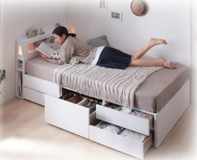 収納ベッドシングル通販 小さいベッド『棚・コンセント付きショート丈チェスト収納ベッド【iglesia】イグレシア』