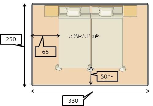 収納ベッドシングル通販 シングルベッドを2台並べて設置