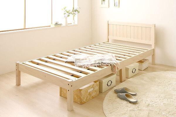 白いベッド『カントリー調 天然木 布団対応 頑丈タイプ すのこベッド【Mina】ミーナ』