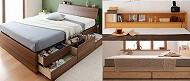 『木目調収納ベッド シングル』