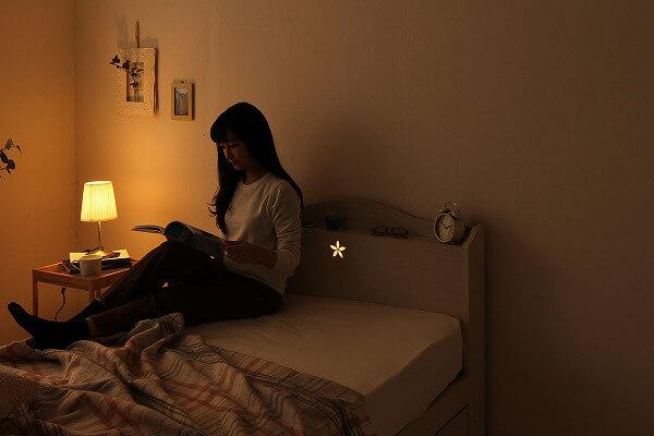 収納ベッド通販 ショート丈の1段チェスト姫系収納ベッド『国産 花柄照明 引き出し付きベッド【ohana】オハナ』