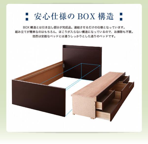 収納ベッドシングル通販 BOX構造の収納ベッド『【悠然】ゆうぜん コンセント付き・モダン畳収納ベッド(チェストベッド)』