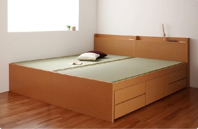 収納ベッドシングル通販 シングルベッド2台並べて1台のキングサイズベッドにする提案『【悠然】ゆうぜん コンセント付き・モダン畳収納ベッド(チェストベッド)』
