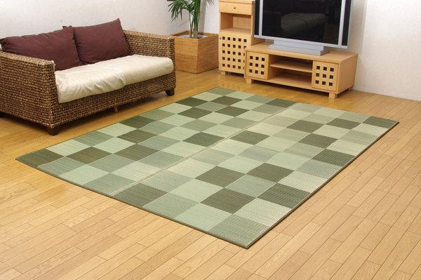純国産/日本製 い草ラグカーペット 「Fブロック2」