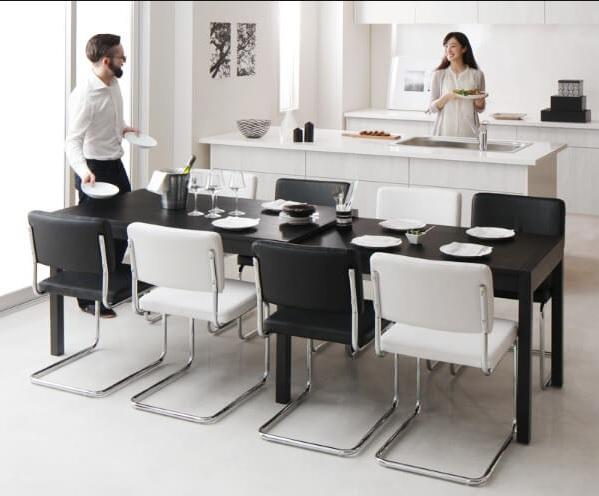 無段階伸縮の8人用ダイニングテーブル『スライド伸縮テーブルダイニング【Blade】ブレイド』