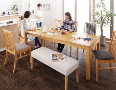 ダイニングテーブル通販『暮らしに合わせて使える 3段階伸縮ハイバックチェアダイニング【Costa】コスタ』ワイド