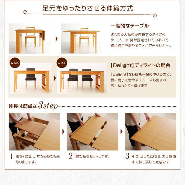 ダイニングテーブル通販『3段階伸縮 収納ラック付き エクステンションダイニング【Delight】ディライト』