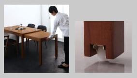 無段階伸縮の8人用ダイニングテーブルの伸縮はカンタン