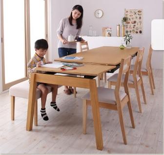 夫婦とお子さんの会話が弾む、勉強しやすいダイニングセット『天然木オーク材 スライド伸縮式ダイニングセット TRACY トレーシー』