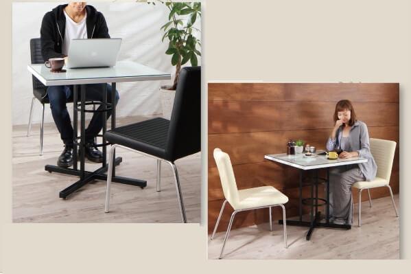 オブジェのようなテーブル脚がおしゃれなダイニングセット『カフェスタイル ガラスダイニング【rosee】ロゼ』