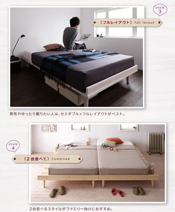 ヘッドレスのシンプルベッド『北欧デザインベッド【Noora】ノーラ』