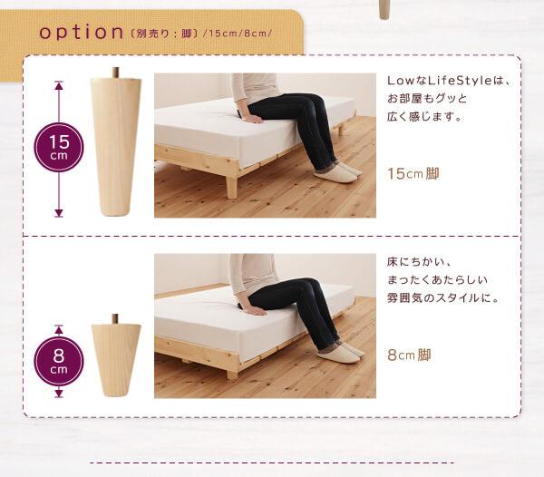 脚を変更して3段階の高さに変えられるベッド『北欧デザインベッド【Noora】ノーラ』