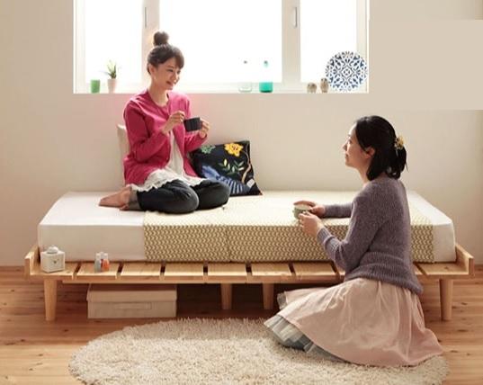 すのこ板がオシャレな安くて小さいベッド『ショート丈北欧デザインベッド【Pieni】ピエニ』