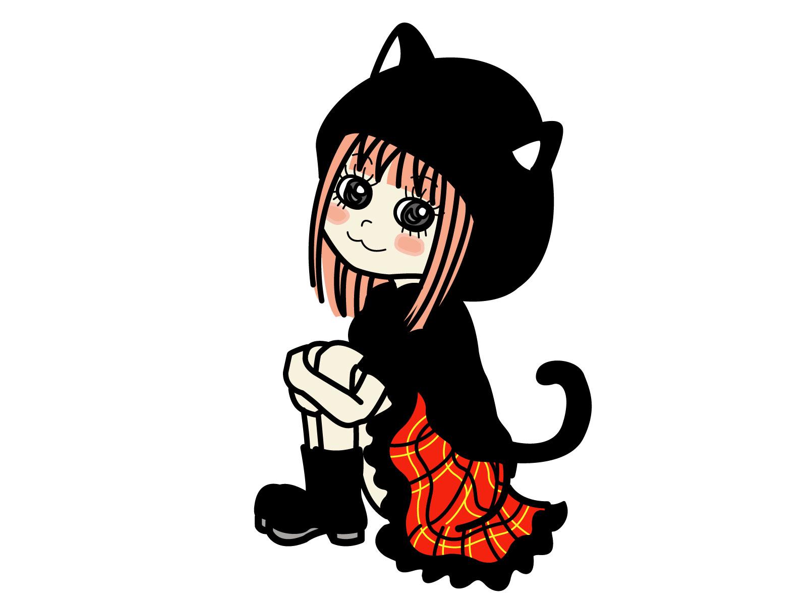 カワイイハロウィン 仮装屋通販 『キャット(猫)の衣装』イラスト