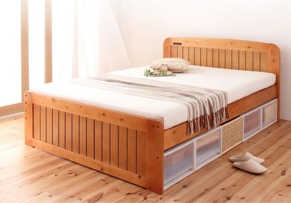 収納ベッドシングル通販 シンプル収納ベッド『コンセント付き天然木すのこ&収納ベッド 【Fit-in】フィット・イン』