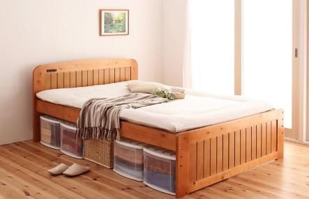 布団が敷けるベッド『コンセント付き天然木すのこ&収納ベッド【Fit-in】フィット・イン』