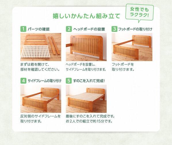 組立見積もり時間15分の『コンセント付き天然木すのこ&収納ベッド【Fit-in】フィット・イン』