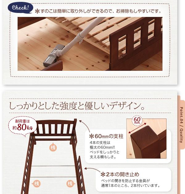 キッズ家具通販『収納ができる天然木分割式2段キッズベッド【Pacio】パシオ』