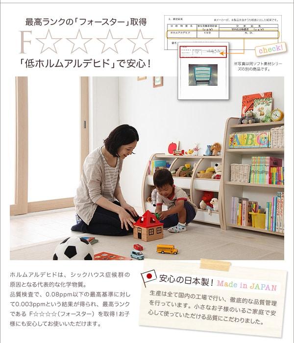 ソフト素材ファニチャー・リビングカラーシリーズ【L'kids】エルキッズ【棚付絵本ラック】