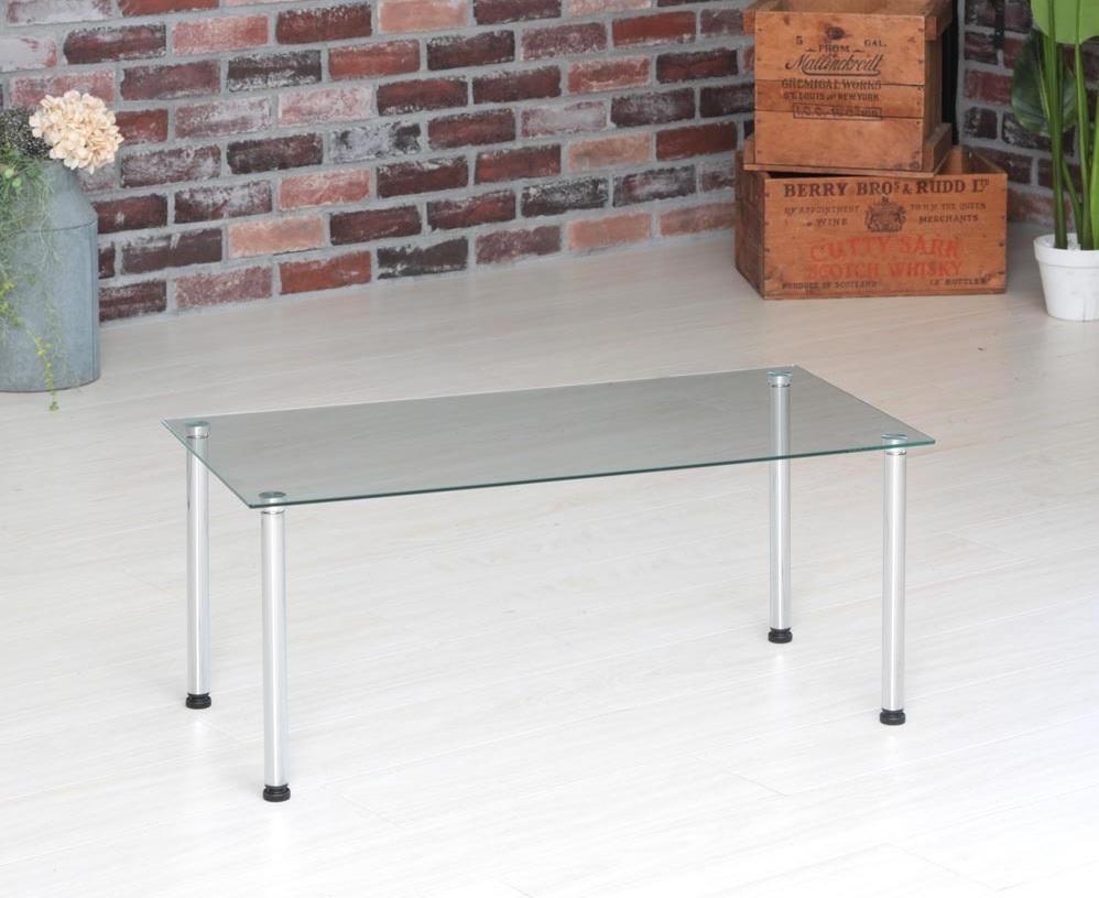 ガラスの透明感がさらに開放感をアップ!フロアタイプの男前ベッドに似合うローテーブル『3WAY強化ガラステーブル』