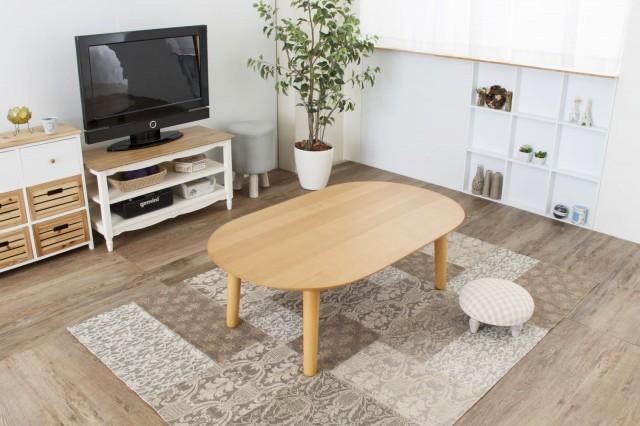 丸型ラグに楕円のローテーブル こたつ機能付き『コタツテーブル(フラットヒーター) ベル』