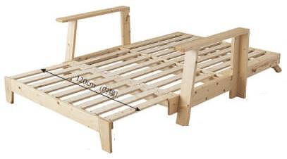布団を敷いて寝るソファーベッド『敷布団で楽しむ伸縮型天然木すのこソファベッド 【Dueto】ドゥエート』ベッド形態