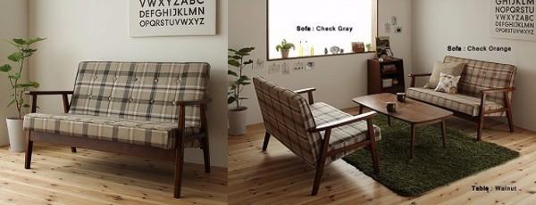 タータンチェックのソファー『ソファ&ローテーブルセット【Glanta】グレンタ』