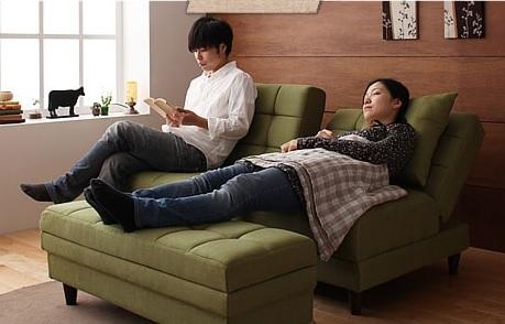 モダンソファー通販 多機能ソファーをカウチソファーにしたところ『マルチソファベッド【Holm】ホルム』