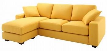 黄色いソファー 黄色いカウチソファー『【LeJOY】リジョイシリーズ カバーリングコーナーカウチソファ ファミリーサイズ』