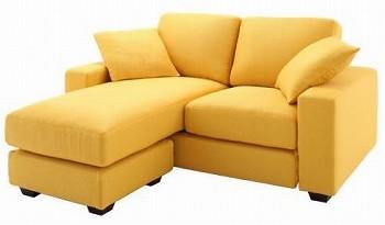 黄色いソファー 黄色いカウチソファー『【LeJOY】リジョイシリーズ カバーリングコーナーカウチソファ ラブサイズ』