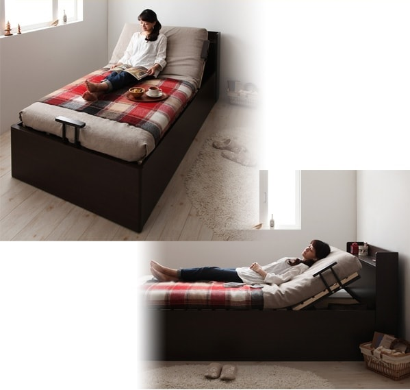 跳ね上げなのにすのこ『コンセント付簡易型跳ね上げ式大容量収納ベッド【Lilliput 】リリパット』