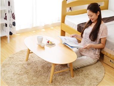 ベッドとローテーブル『脚折れ木製センターテーブル【Luna】ルーナ(丸型ローテーブル) 』