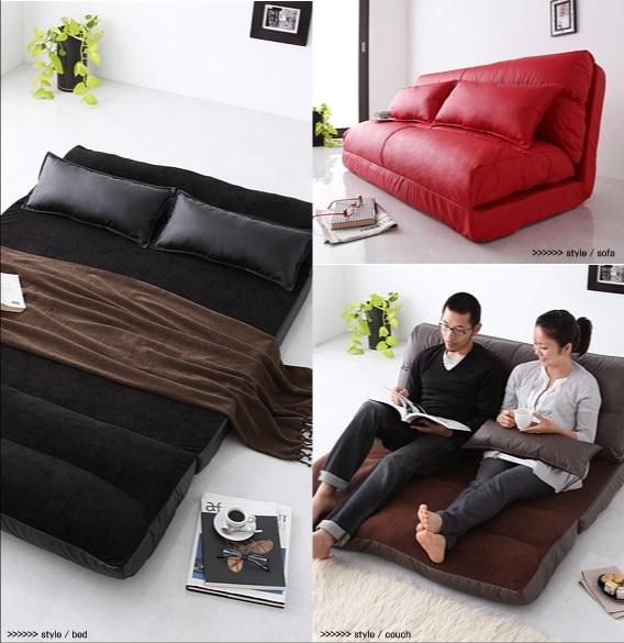 ダブルサイズベッド相当の二人寝られるワイドなソファーベッド『コンパクトフロアリクライニングソファベッド【Luxer】リュクサー』