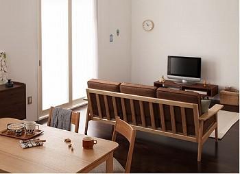 後姿が美しいウッドフレームソファー『【Simple Wood sofa】シンプル木肘ソファ』