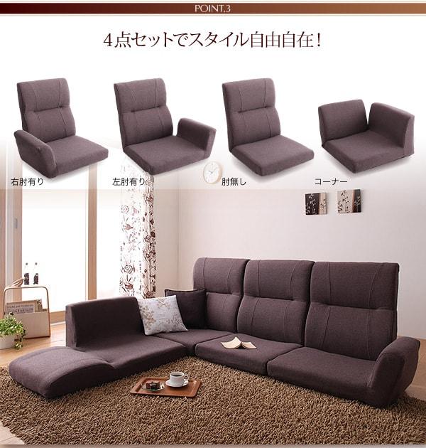 背もたれがそれぞれ倒れるソファー『フロアコーナーソファ【cozy】コジー』