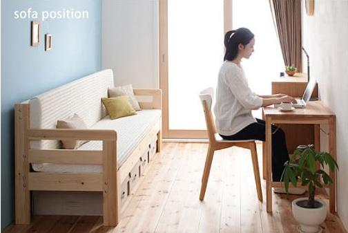 寝心地のいいソファーベッド『省スペース!横幅伸縮の天然木すのこソファベッド【ecli】エクリ』