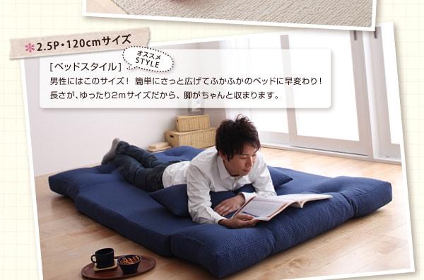 モダンソファー通販 ダブルサイズのソファーベッド『コンパクトフロアリクライニングソファベッド 【happy】ハッピー 2.5P』