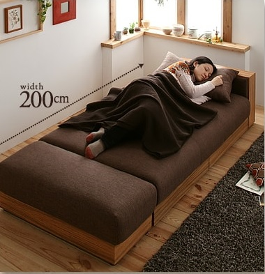 モダンソファー通販 多機能ソファーをソファーベッドにしたところ『マルチソファベッド【noix】ノワ』